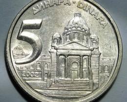 Yugoslavia 5 Dinara 2002 KM#182