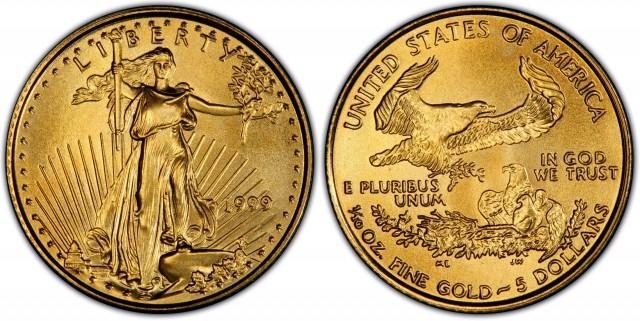 1999   5 Eagle Gold Coin