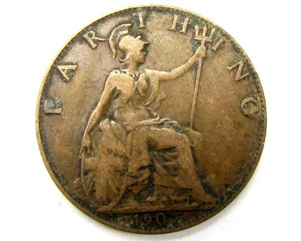 UK farthing coin