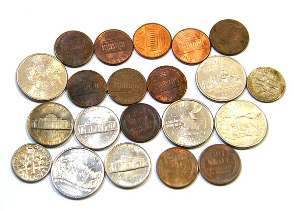US coins dimes cents quarters