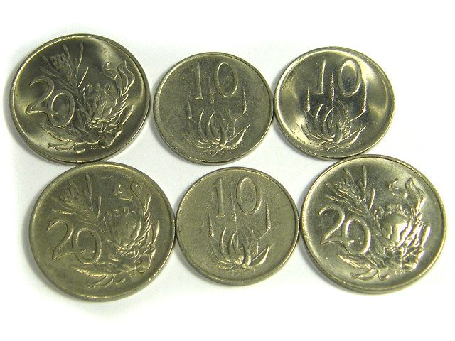 PARCEL 6 MIXED  SA COINS FLOWER DESIGN  1970 - 1988    J 18