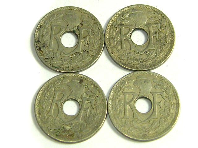 PARCEL 4 HOLED 5 CMES COINS 1917-1920   J19