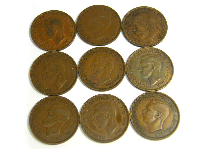 PARCEL 9 ONE PENNY COINS 1930- 1940s   J 27