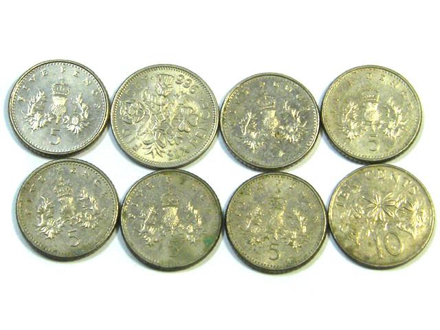 PARCEL  8 FIVE PENCE   COINS   J 42