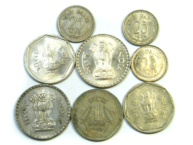 PARCEL 8 MIXED INDIAN  COINS   J45