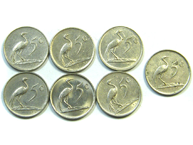 PARCEL SEVEN 5 CENTS SOUTH AFRICAN COINS  1977 J 49