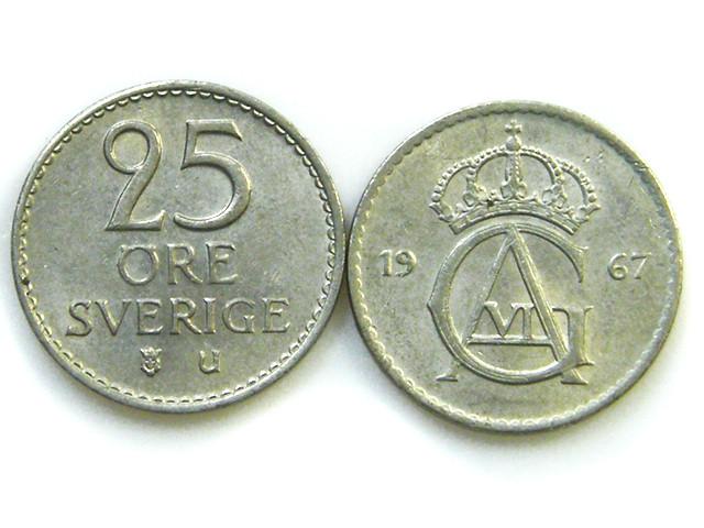 PARCEL 2 25 ORE SWEDEN COINS    1967     J 51