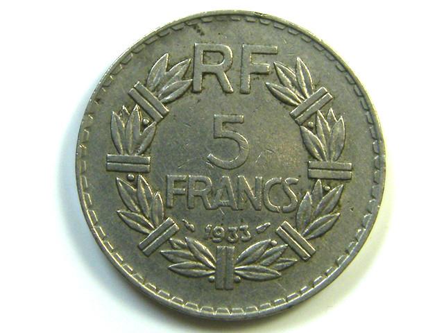 5 FRANCS 1933 FRANCE     J 58