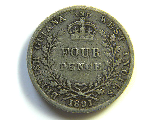 BRITISH GUYANA  1891  FOUR PENCE  J 65