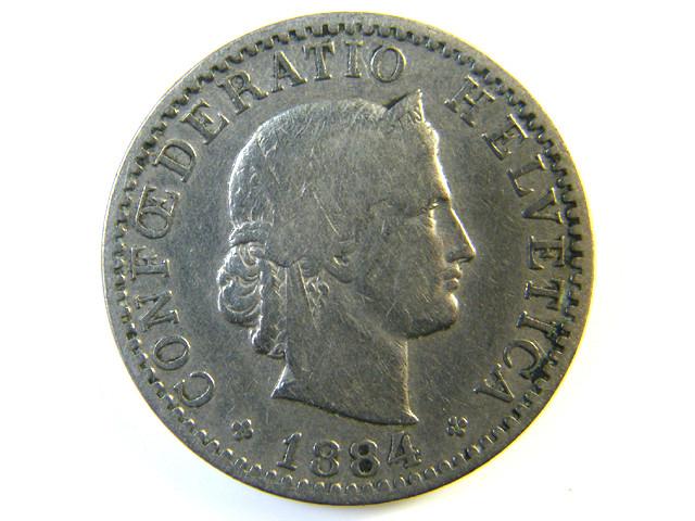 20 FR SWITZERLAND 1884  J 137