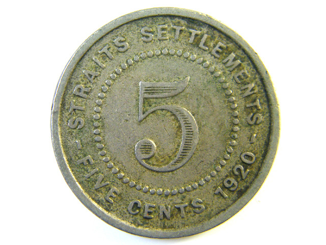 5 CENTS STRAITS SETTLEMENT 1920  J 147