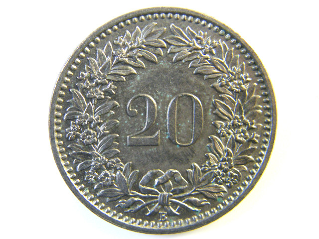 20 FRANC SWITZERLAND COIN 1957  J 155