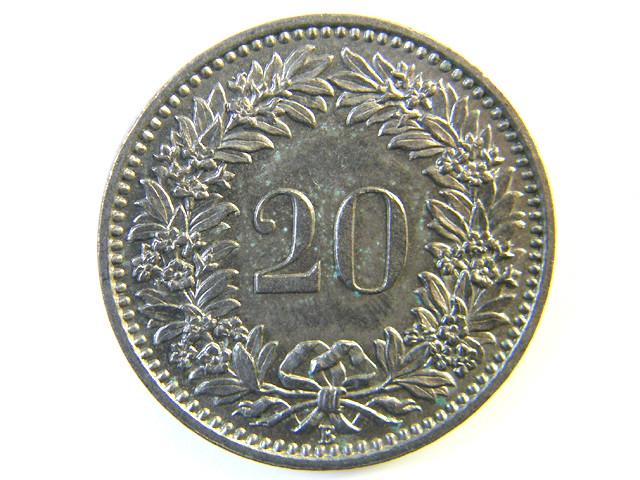 20 FRANC SWITZERLAND COIN 1957  J 155