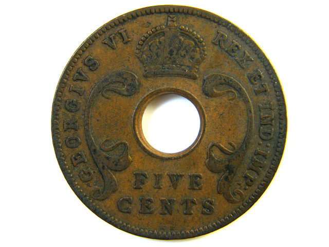 BRITISH EAST AFRICA 5 CENT COIN 1937  J 168