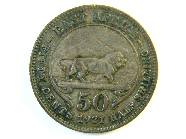 BRITISH EAST AFRICA 50 CENT COIN 1921   J 173