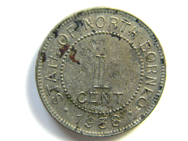 STATE OF NORTH BORNEO  1 CENT COIN 1938   J 179