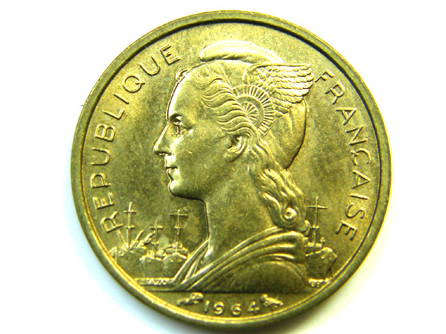 10 FRANCS REUNION COIN 1964    J 220