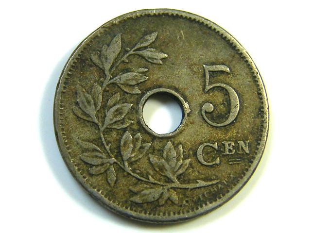 5 CEN BELGIUM COIN 1906  J 233