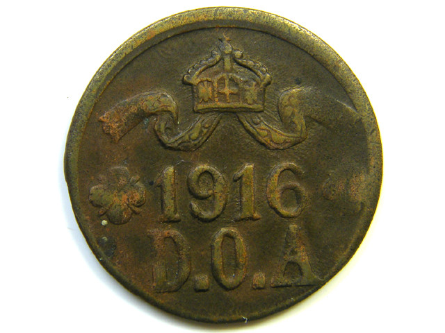 1916 GERMAN EAST AFRICA 5 HELLER COIN  J239