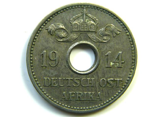 GERMAN  EAST AFRICA 5 HELLER  COIN   1914 J 240