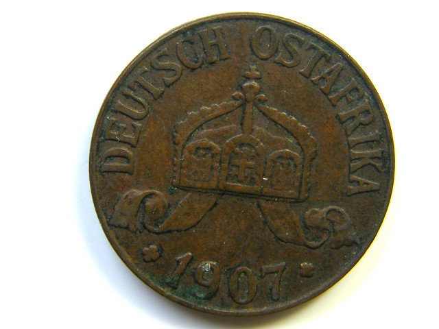 GERMAN  EAST AFRICA 1 HELLER 1907  COIN  J252