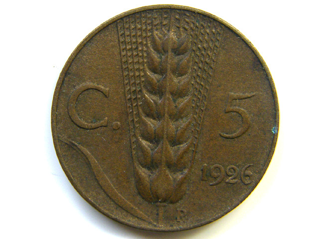5 C ITALY COIN 1926 J 262