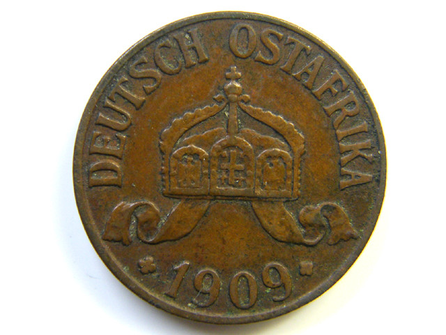 GERMAN  EAST AFRICA 1 HELLER 1909  COIN  J277