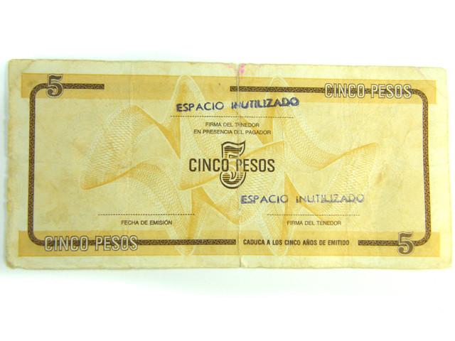 CUBA FOREIGN EXCHANGE 5 PESOS   J 304