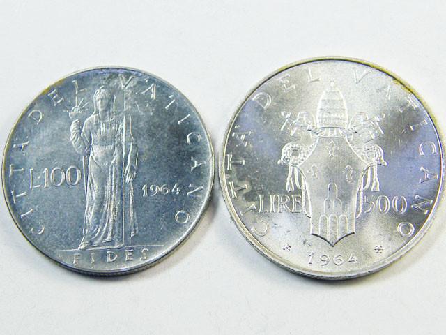 UNC    VATICAN COINS 100L ,500L     1964   J 307