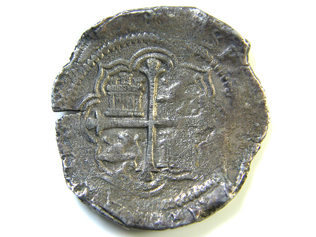 MEXICO CITY  8 REALES COB PHILIP 111  LARGE COIN    AC 357