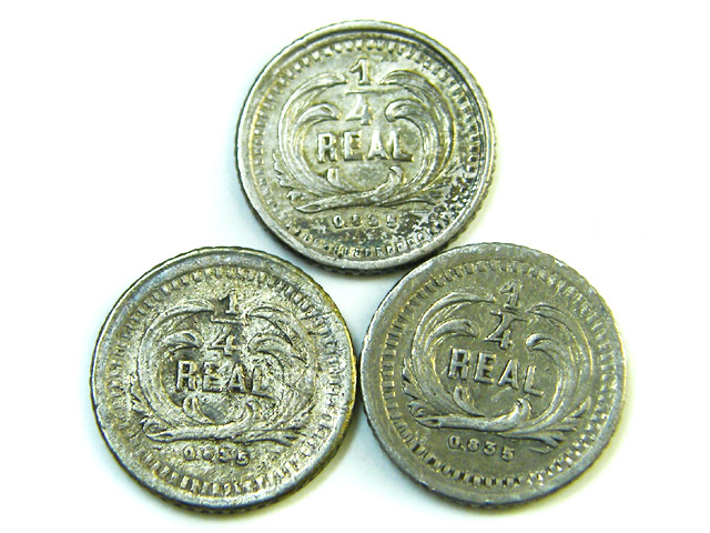 PARCEL THREE 1/4 REALES 9 GUATEMALA   1879  1880 AC 363