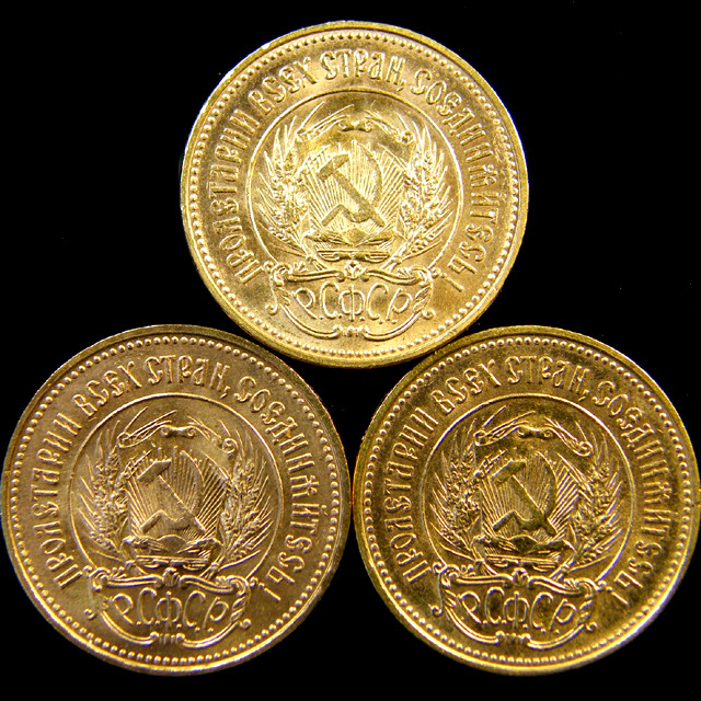 THREE RUSSIAN 10 ROUBLES CHERVONETZ GOLD COIN  1975  CO 18