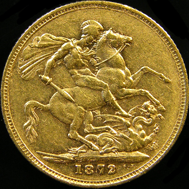 1872 QUEEN VICTORIA  FULL  GOLD SOVERIGN 1 CO 21