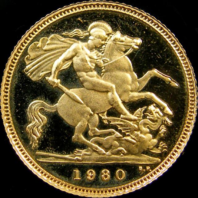 1980 QUEEN ELIZABETH HALF  GOLD SOVERIGN  CO 25