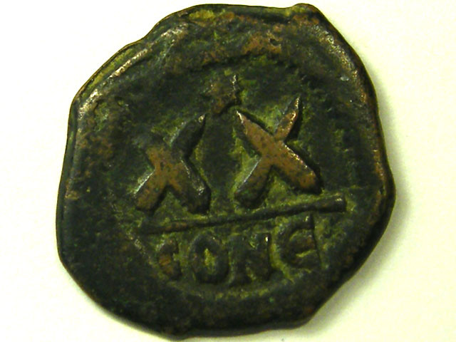 ANCIENT BYZANTINE L1, FOCAS HALF FOLLIS COIN AC290