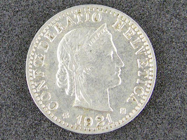 SWISS 1921 COIN  T 359