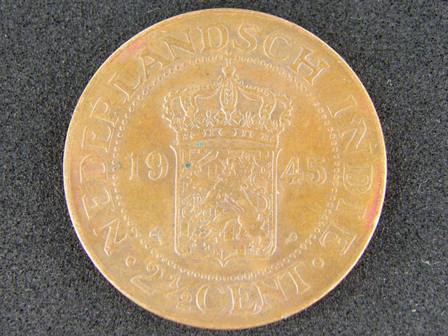 Nederlandsch Indie Coin 2½ Cent 1945 Uncirculated T 374