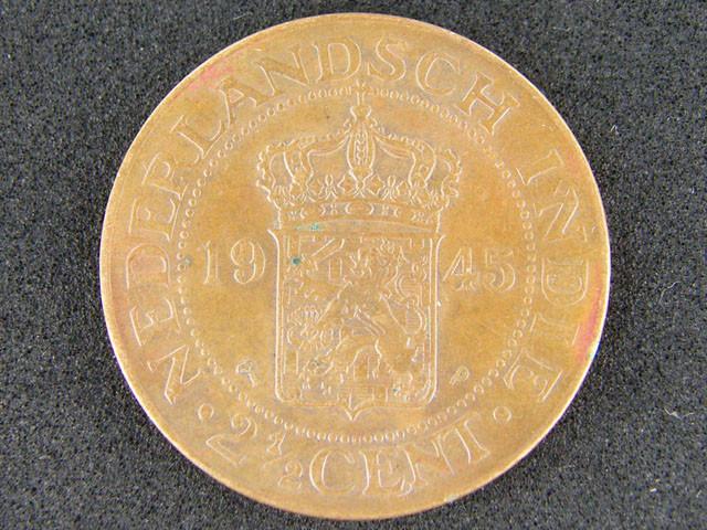 Nederlandsch Indie Coin 2½ Cent 1945 Uncirculated T 374