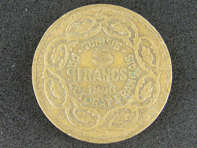 TUNISE AFRICA  5 FRANCS  1946    T 395