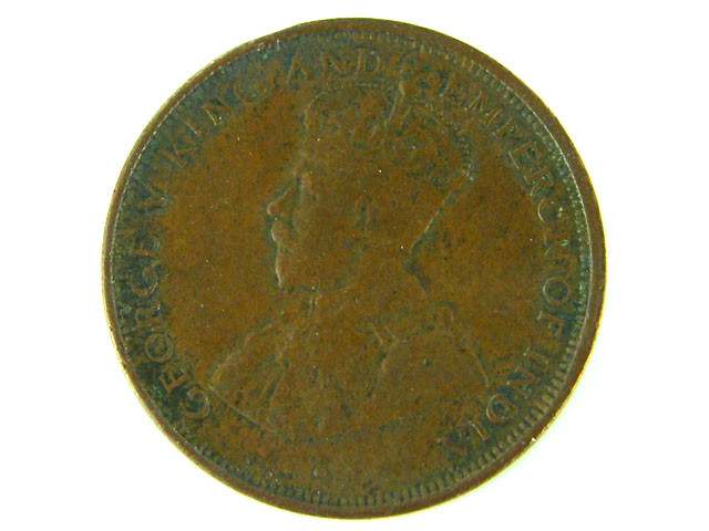 1923 Ceylon ONE CENT COIN (Great Britain Rule) T 405