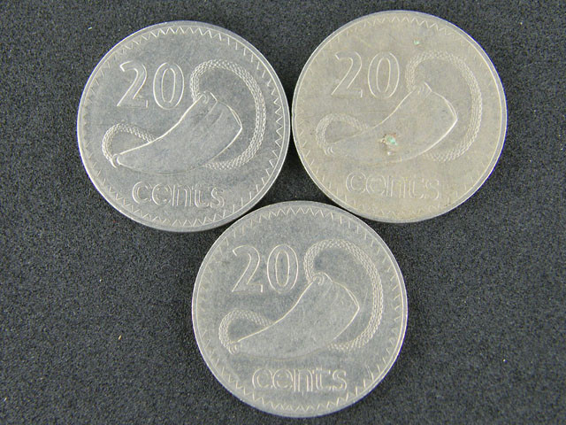 FIJI LOT 3, 1969-1979 20 CENT COINS     T504