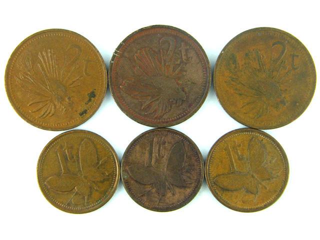 FIJI LOT 6, 1984-1990 1T, 2T  COINS T513