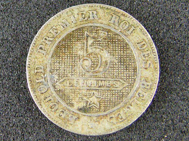 BELIGUM LOT 1 ,FIVE CENTIMES 1862 COIN T526