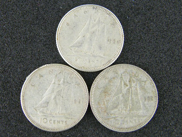 CANADA LOT 3 , TEN CENT 1952-1964 COIN T532