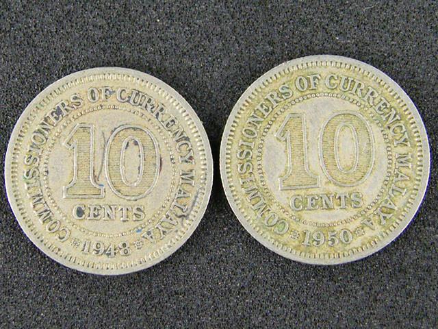 MALAYA LOT 2,  2 X TEN CENT COINS 1948-1950 T539