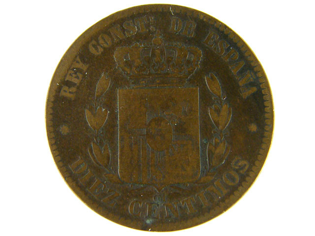 SPAIN LOT 1, 1877 TEN CENT COIN T556