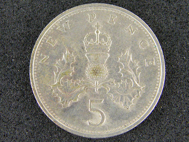 GREAT BRITIAN LOT 1, NEW FIVE PENCE 1970 COIN T565