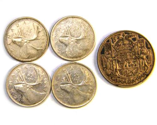 5 SILVER .800   CANADA  $1.00  PER GRAM COINS OP 287