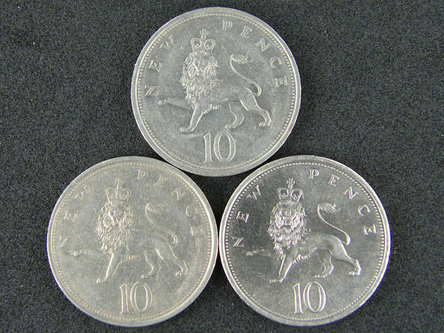 GREAT BRITIAN LOT 3, TEN PENCE 1974-1979 COINS T567