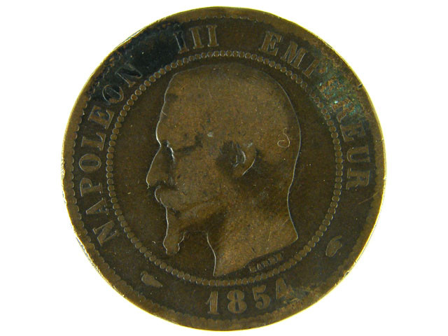 FRANCE LOT 1,  1854 DIX CENT COIN T588